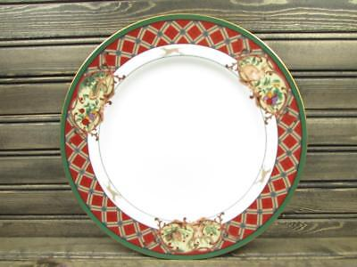 Royal Hunt by Noritake Dinner Plate Green Band Fruit & Animals Plaid Border L258