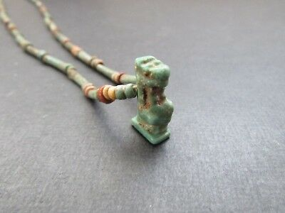 NILE  Ancient Egyptian Tuaret Amulet  Mummy Bead Necklace ca 600 BC
