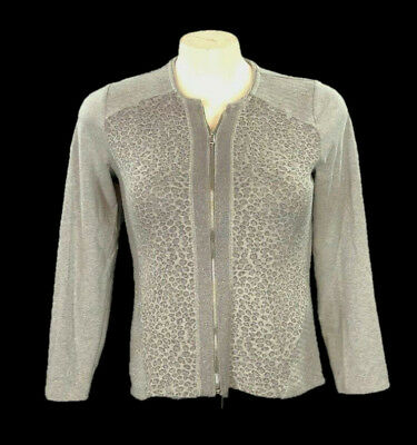 9d168f5f97b6 Chicos Zenergy Jacket~Gray Leopard Print w/ Silver Metallic~Zip Up~Quilted