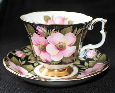 Vintage ROYAL ALBERT Bone China England ALBERTA ROSE Pattern Footed Cup & Saucer