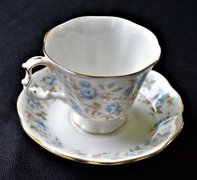 Vntg 1982 ROYAL ALBERT Bone China England Rose Chintz BLUE GOWN Set Cup &Saucer