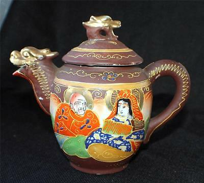 "Vintage SATSUMA Moriage Gold Gilded Hand Painted KANNON w IMMORTALS 6""h Teapot"