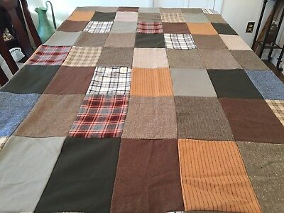 """Unfinished All Wool Machined Quilt Top 59"""" X 92.5"""" Very Nice"""
