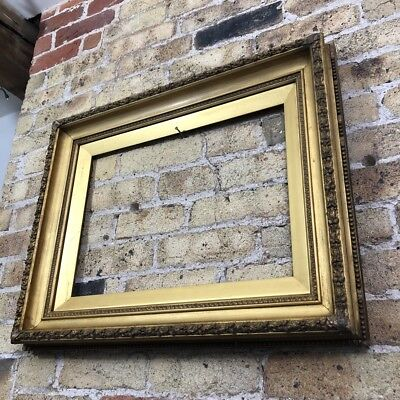 Antique Ornate Gold Gilt & Gesso Detail Wooden Picture Frame, Chunky, Large