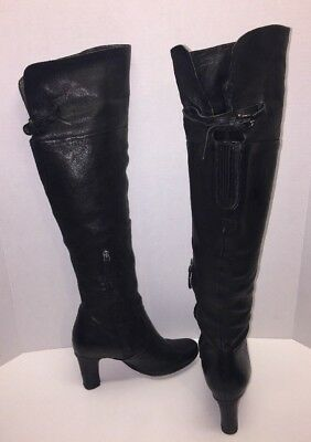 "f9118c31543f3 Sam Edelman Womens Sz 6 M Black Leather Boots ""SABLE"" Heels Over the Knee"