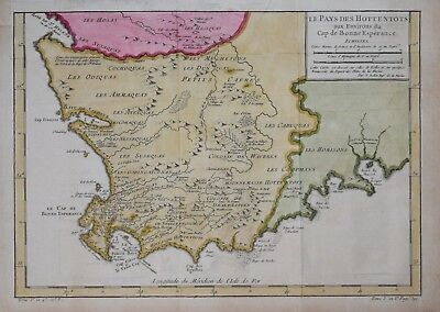 South Africa - Les Pays Des Hottentots....  By Bellin, Paris 1750.