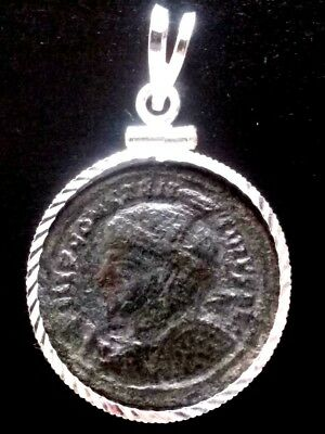 RARE AE2 Constantine The Great Altar Ancient Roman Coin Sterling Silver Pendant