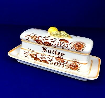 Retro Brown and White Covered Butter Dish