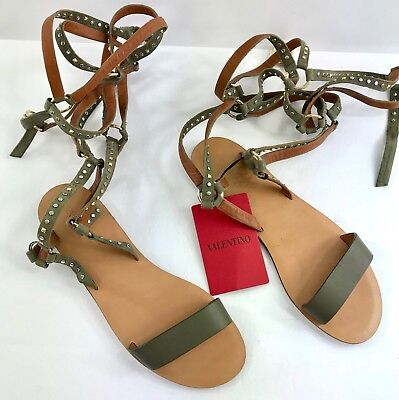 6809f67c0567 Valentino Gladiator Knee High Sandalo Laced Up Sandals Gray Silver Studded
