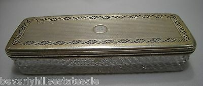 Antique Georgian 1815 Cut Crystal Sterling Silver Reticulated Potpourri Box