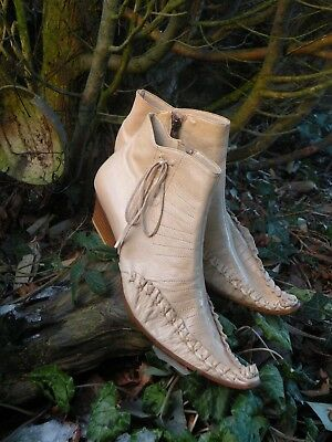 Manry Ankle Boots. Cream Designer, Fine Leather, Size 6.  New in Original Box
