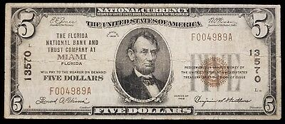 1929 $5 Miami Florida FL National Currency Bank Note Paper Bill Ch #13570 Fine