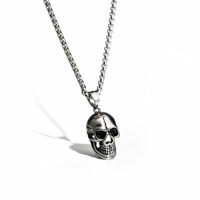 Men's Punk Rock Stainless Steel Skull Bone Skeleton Pendant Charm Necklace