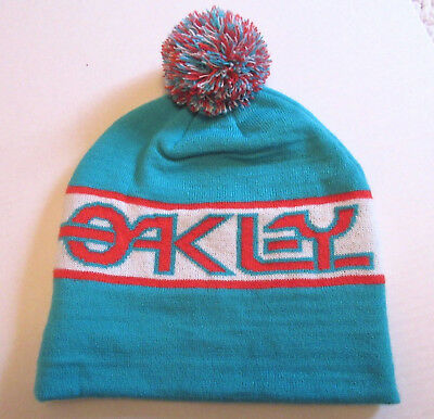 d195acbc596 Oakley Knit Beanie Hat Men s One Size Soft Pompom Toque Spell Out Blue Red