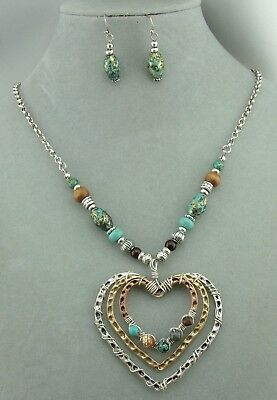 Heart Necklace Set Gold Silver Copper Wire Wrapped bead Fashion Jewelry NEW