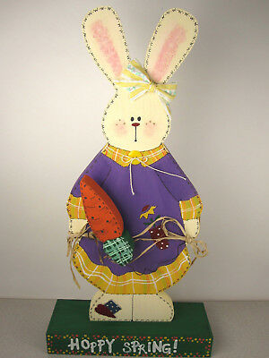 """Big 18"""" Hand Painted 3-D Wood Easter Bunny Rabbit w/ Carrot Spring Decoration"""