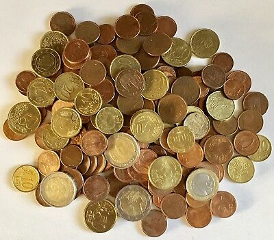 1.7 Pounds Euro Coins Assorted Countries, Circulated