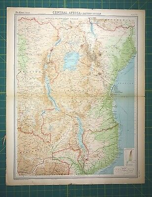 Central Africa Plate 75 - Vintage 1922 Times World Atlas Antique Folio Map