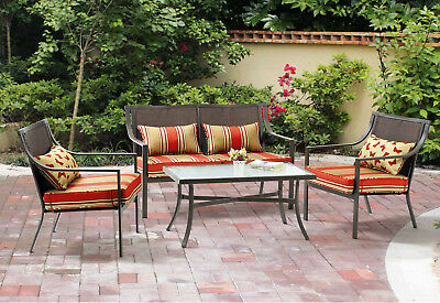 Patio Furniture Set 4 Piece Outdoor Loveseat Sofa Chairs Table Cushions Wicker
