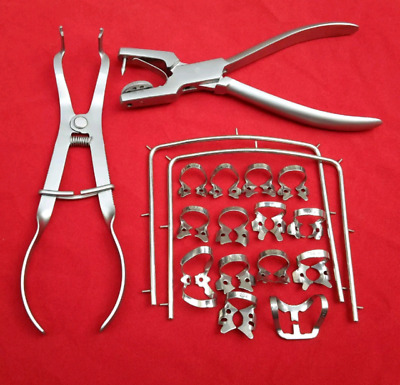 Rubber Dam Starter Kit of 18 Pcs with Frame Punch Clamps Dental Instruments