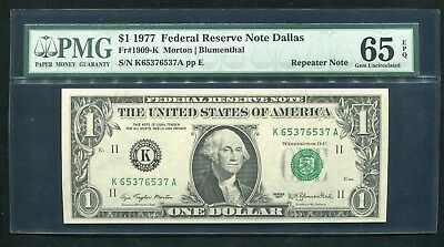 """Fr 1909-K 1977 $1 Frn Federal Reserve Note """"Repeater Serial #"""" Pmg Gem Unc-65Epq"""