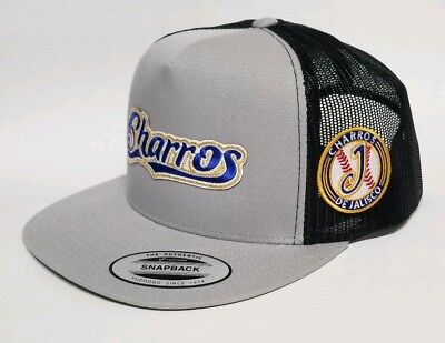 Charros De Jalisco Hat Mesh Trucker Silver Black Snap Back Flat Build New de4b07498c10