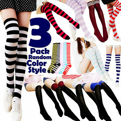32afdf86a 3 Women Striped Thigh High Socks Sheer Over The Knee Cotton Knit Stockings  Soft
