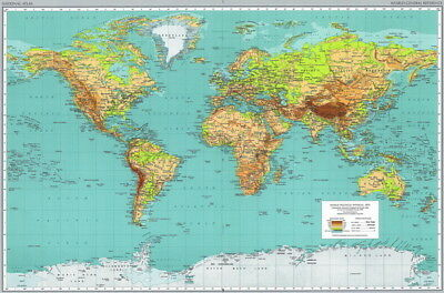 """021 World Map -National Geographic Map of the World 36""""x24"""" Poster"""