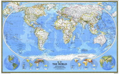 """017 World Map -National Geographic Map of the World 38""""x24"""" Poster"""