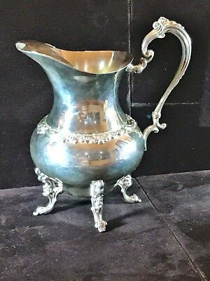 Antique Sheridan Silver On Copper Water Pitcher w/Footed Bottom & Ice Lip