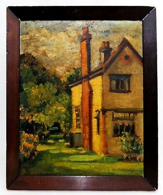 Early 20Th C Arts & Crafts Era Vint O/B Landscape, W/House/Yard/Trees Orig Frame