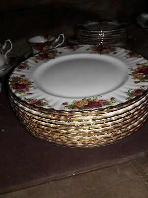 10 Royal Albert Old Country Roses Dinner Plates  England 10.5""