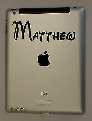iPad Personalised Custom Name Tablet Black Vinyl Sticker Decal x 2(#006)