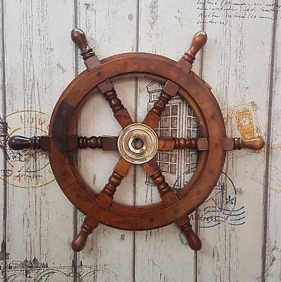 """18"""" Boat Ship Brown Wooden Steering Wheel Nautical Wall Decor Item"""