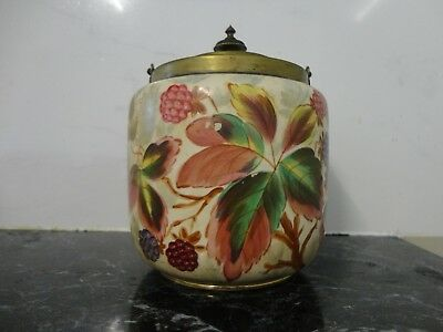 Antique hand painted biscuit barrel with the lid