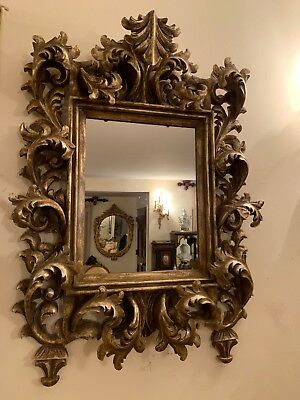 Italian Rococo Style Antique Gold Leaf Hand Carved Wood Wall Mirror