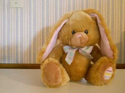 Pier 1 Imports super soft plush tan & pink Easter bunny rabbit stitched eyes  B6