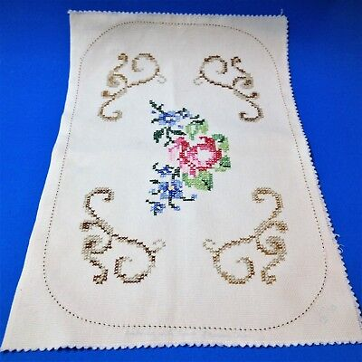 Unfinished Cross Stitch Embroidered Doily Centre Piece - 40x26cm - Vintage, Rose