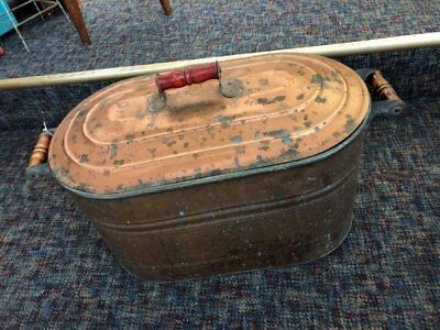 Rare Antique Vintage Copper Boiler w/Lid Wash Tub Wood Handles Stunning