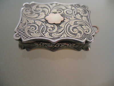 Victorian Antique Sterling Silver Vinaigrette by Nathaniel Mills c1846