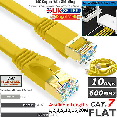 RJ45 Cat7 Network Ethernet SSTP 10Gbps Gigabit Patch LAN 1 to 20M Flat Cable LOT
