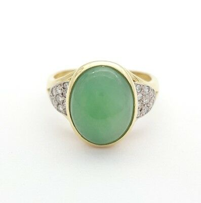 Ladies Jade Ring 18ct (750, 18K) Yellow Gold Jade & 0.22ct Diamond Ring
