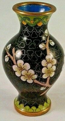 Chinese Cloisonne Vintage Vase with Cherry blossoms on Carved Stand Black