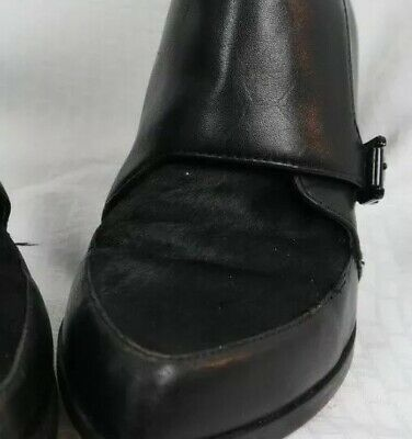 90510ab1100e TOPSHOP Womens leather ankle boots size 38 black Cowhide Toe Tongue Side  Zipper
