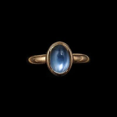 Antique Victorian Blue Moonstone Oval Solitaire Single Stone 9ct Rose Gold Ring