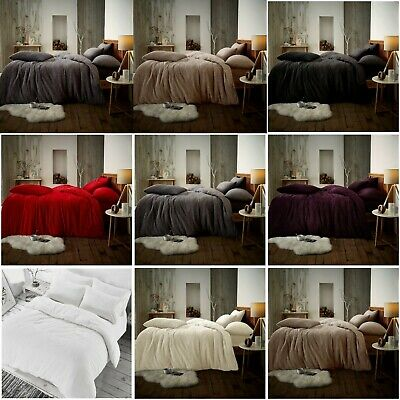 Teddy Bear Fleece Duvet Quilt Sets Cover Pillow Case Warm Soft Cozy Bedding Sets