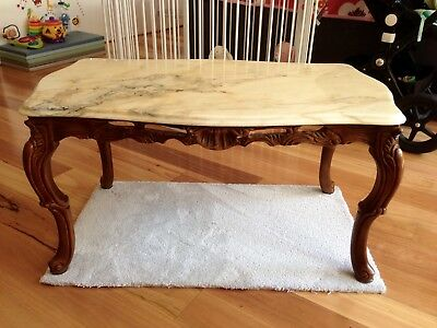 Vintage Marble Coffee Table with Craved Wooden Legs