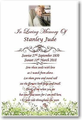 20 x Personalised A6 Funeral, Memorial, Remembrance, Keepsake cards & Seeds M6