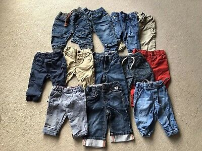 12 Pairs Baby Boys 6-9 Months Trouses Jeans Bottoms All Next, Gap, Ted Baker