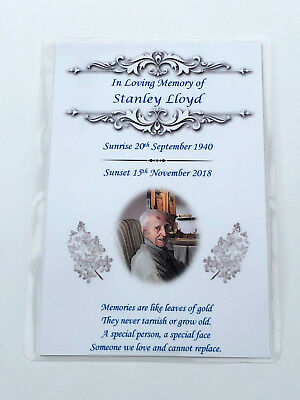 20 x Personalised A6 Funeral, Memorial, Remembrance, Keepsake cards & Seeds M4